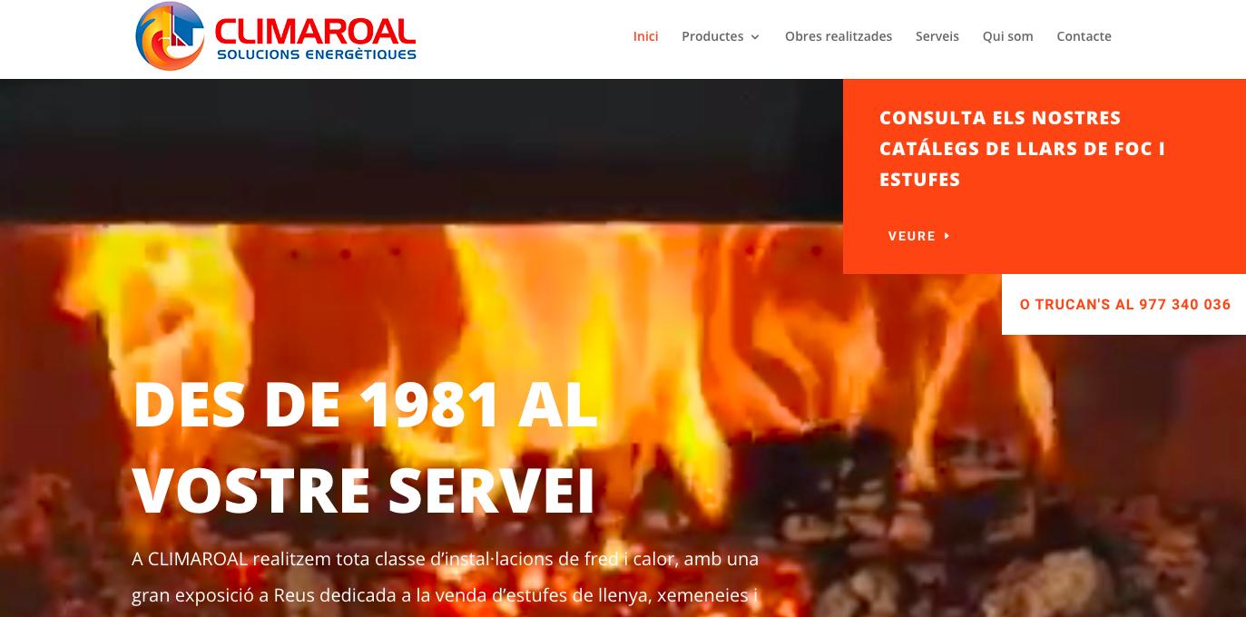 Diseño web climaroal diseñado por mussara.com reus tarragona